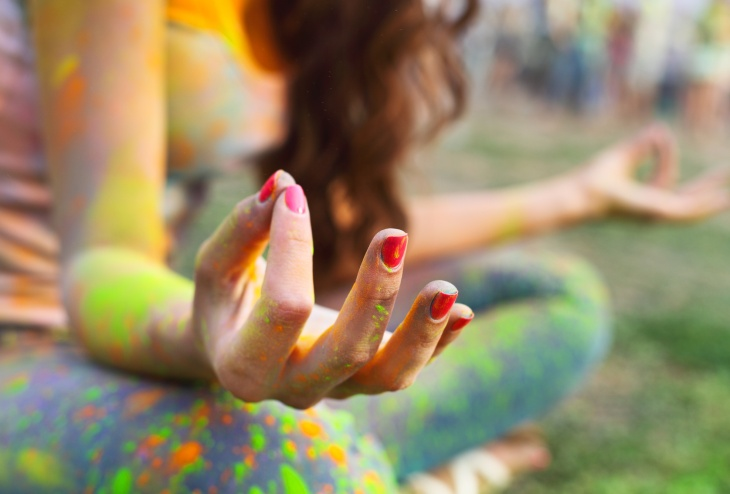 Woman training yoga and meditation, concentrate on finger